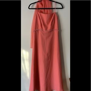 Jordan coral bridesmaid's dress with scurf, size S